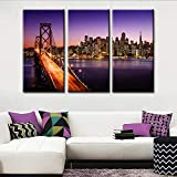 TUMOVO 3 Pieces Canvas Wall Art San Francisco Skyline and Bay Bridge at Sunset,California Large Picture Print on Canvas Modern Wall Decor City Artwork Framed Ready to Hang(40'' x 20'' x 3 Panels)