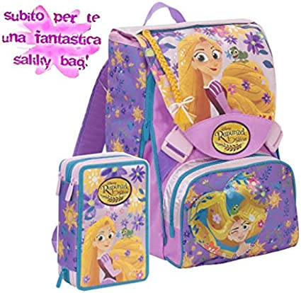 Mochila escolar Rapunzel extensible rosa 2020/2021 + estuche 3 pisos + bolsa + regalo 10 bolígrafos de colores: Amazon.es: Oficina y papelería
