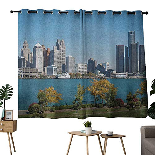 NUOMANAN Thermal Insulated Blackout Curtain Detroit,Industrial City Center Shoreline River Scenic Panoramic View in a Sunny Day, Blue Green Silver,Adjustable Tie Up Shade Rod Pocket Curtain -