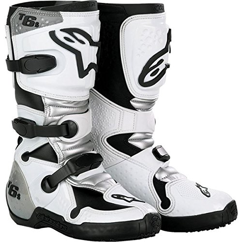 Alpinestars Tech 6S Youth Boys Off-Road Motorcycle Boots - White/Silver / Size 2