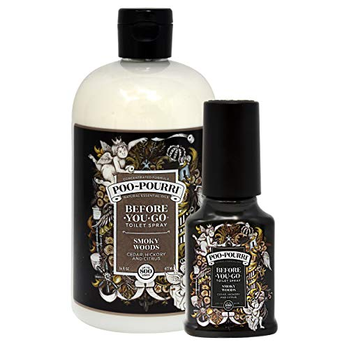 Poo-Pourri Before You Go Toilet Spray 16 Ounce Refill Bottle Smoky Woods and 2 Ounce