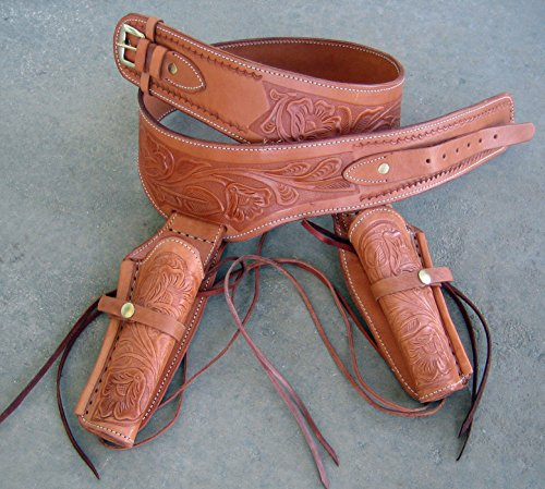New! Tan Genuine Leather Double Western Single Action Gun Tooled Holster Cowboy SASS Rig. in 44/45 Cal Ammo Loops by GUNS4US -