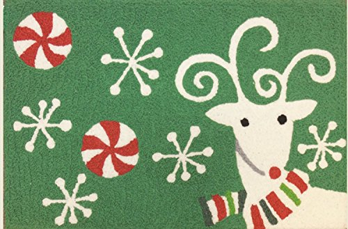 Festive Reindeer on Holiday Green Jellybean 33 X 21 Inch Are