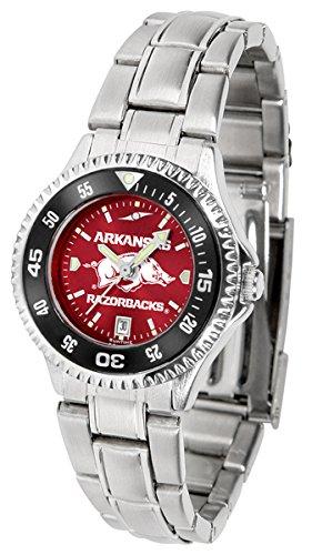 Arkansas Razorbacks Ladies Sport Watch - Arkansas Razorbacks Competitor Steel AnoChrome Women's Watch - Color Bezel
