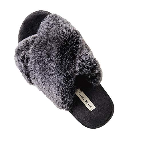 Cozy Bliss Women's Faux Fur Slippers Cross Band Open Toe Breathable Fuzzy Fluffy House Slippers Memory Foam Anti-Skid Sole Indoor Outdoor Slippers