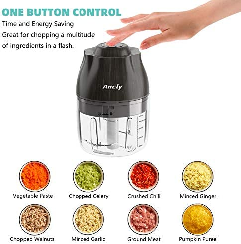 Garlic Chopper Small, USB Charging Seasoning&Spice Grinder Electric Food Blender Mixer, BPA Free,Quickly Chops with Less Mess, Versatile Kitchen Masher for Vegetables,Onion,Fruits,Nuts,Herbs 250ml