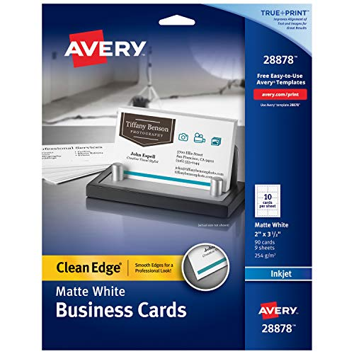 Avery Printable Business Cards, Inkjet Printers, 90 Cards, 2 x 3.5, Clean Edge, Heavyweight (28878), White