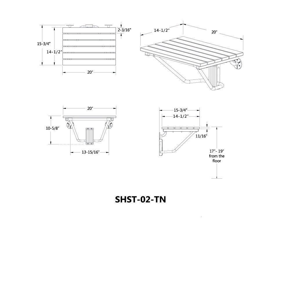 DreamLine Natural Teak Folding Shower Seat SHST-01-TK