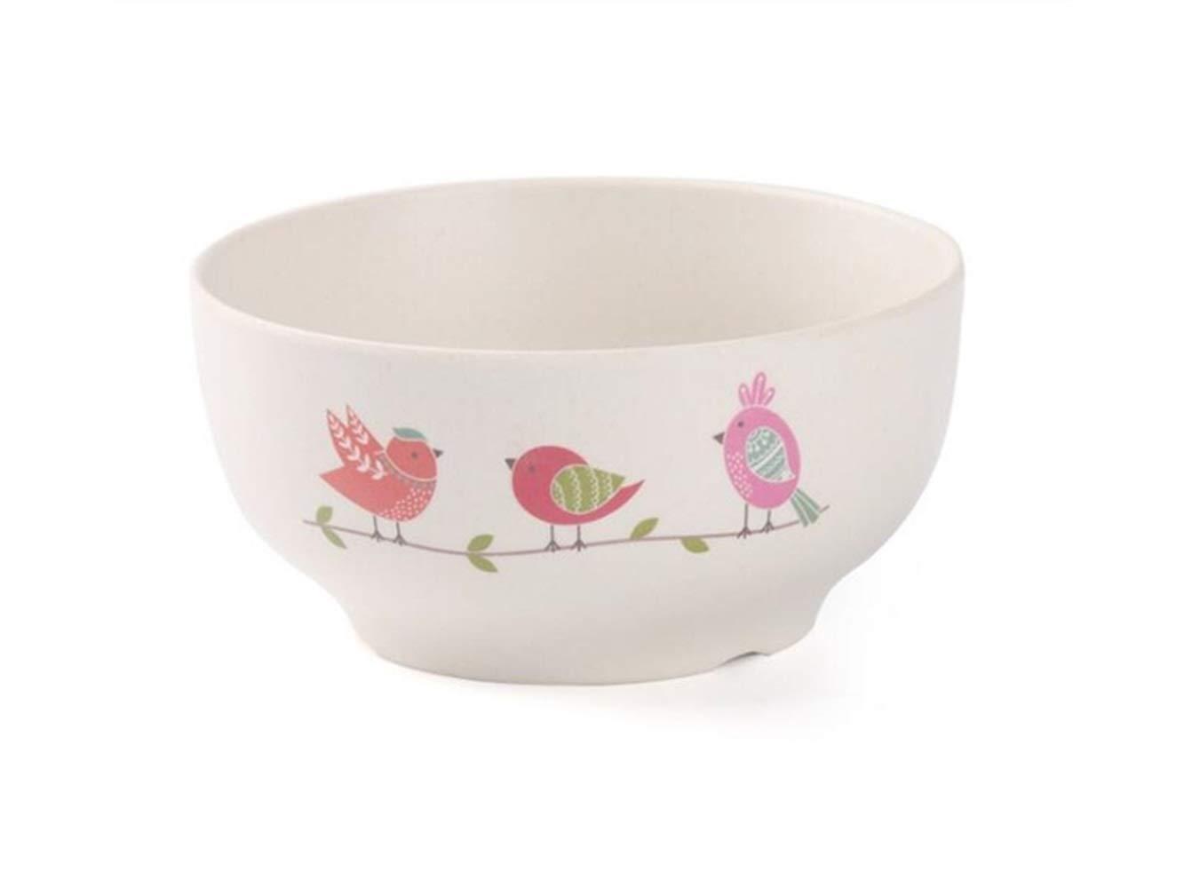 Flowerrs Bambus Rutschfest Faser Vogel Muster Kinder Schüssel Kids Separate Schüssel für Suppen Oder Reis (Rot) für Kinder