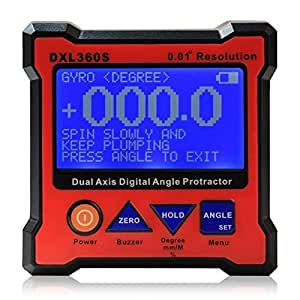 Gyro Function DXL360S Digital LCD Protractor Inclinometer Single & Dual Axis Level Box 0.01°