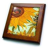 ft_100929_1 Florene Famous Art - Picture Of Van Goghs Heavily Textured Painting Sunflower - Framed Tiles - 8x8 Framed Tile