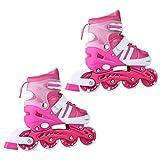 Ceanfly Inline Skates/Roller Skates, Indoor Outdoor Roller Children Tracer Skates Adjustable Rollerblades Illuminating PU Wheels Perfect for Birthday Gifts (Pink, L (UK 4-7 ))
