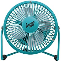 Comfort Zone 360-Degree Adjustable Tilt 4-Inch Cradle High Velocity Dual Powered Fan in Teal
