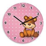 Cute Bear Wooden Wall Clock Silent Non-ticking Wall Clocks Decorative for Living Room Bedrooms Nursery Clock Children Watch