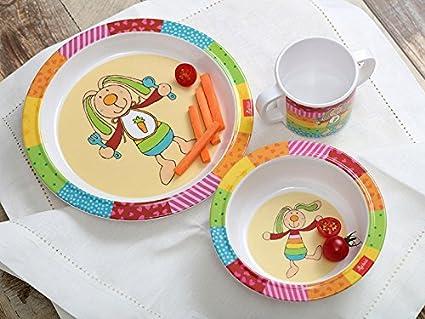 sigikid 24403 Rainbow Rabbit Enfant Gar/çon et Fille multicolore set vaisselle en m/élamine 3 pi/èces : assiette // bol // tasse