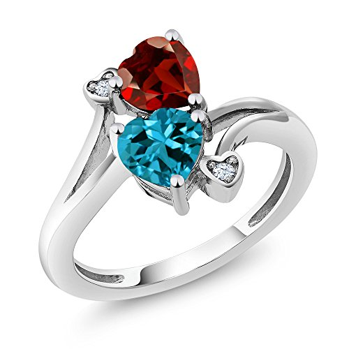 Gem Stone King Sterling Silver London Blue Topaz and Red Garnet Women's Ring 1.88 cttw Heart Shape Gemstone Birthstone Available in size 5, 6, 7, 8, 9