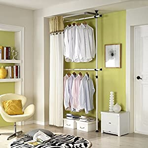 Good Simple Double Curtain Hanger | Clothing Rack | Closet Organizer