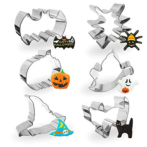 Cortadores De Galletas Halloween (Yosager Halloween Cookie Cutter Stainless Steel Mold Baking Tools 6 Piece Set Including Stainless Steel Bat, Spider, Pumpkin, Ghost, Cat and Witch)