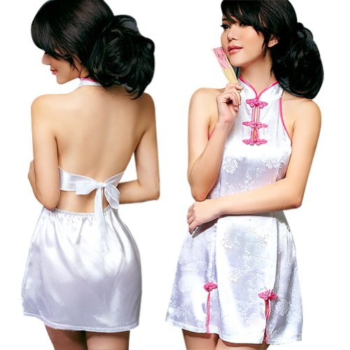 Lingeriecats Sexy Hot White Backless Clubwear Short Dress (Free Sport Pant Gift)