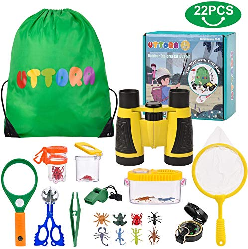 UTTORA Outdoor Explorer Kit, Kids Binoculars Set with Compass, Magnifying Glass, Butterfly Net for 8+ Old Boys and Girls, Kids Telescope Adventure Kit Children Outdoor Educational Kit (22PCS).