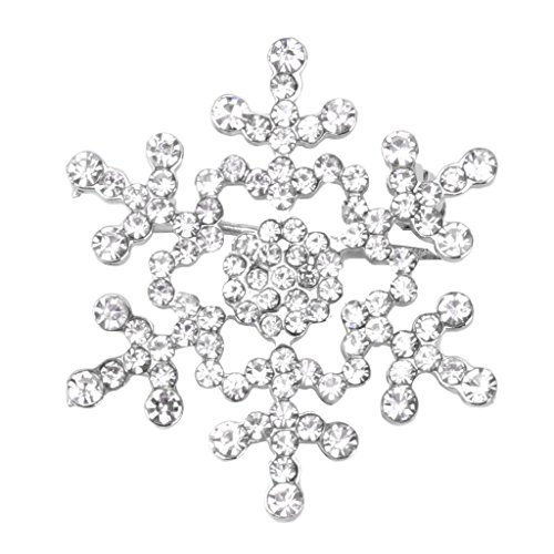 Price comparison product image Hukai Christmas Jewelry Snowflake Brooch Pins Sparkling Rhinestone Wedding Bridal Gift (Silver)