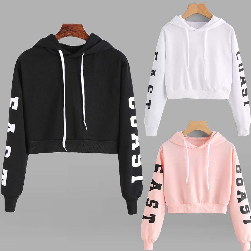 Amazon.com: Womens Crop Tops,Wokasun.☂☂ EAST COASTLetter Printed Pullover Sweatshirt Lace Up Hoodies: Clothing