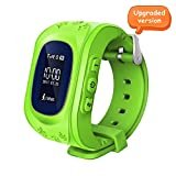 Witmoving Childrens Smartwatch GPS Tracker Kids Wrist Watch Phone Sim Anti-lost SOS Bracelet Parent Control By iPhone IOS Android Smartphone (Green)