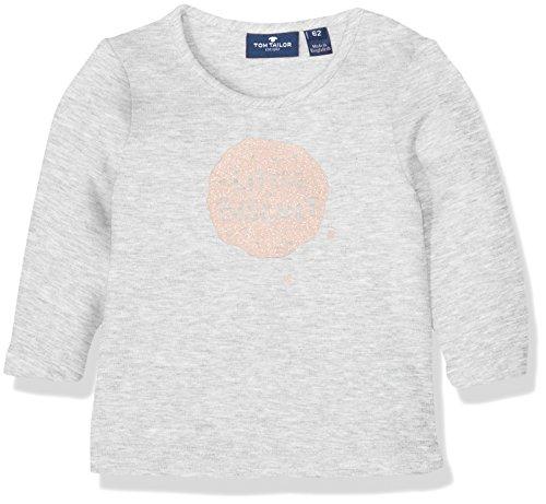 TOM TAILOR Kids Baby-Mädchen Basic Sweatshirt with Print, Grau (Greyish Beige Melange 8353), 74