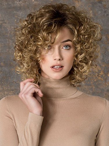 GNIMEGIL Medium Blond Short Curly Hair Wigs for Women Synthetic Hair Brown Ombre to Blonde Afro Kinky Curly Wig Hairstyle Look Same with Human Hair Cosplay Costume Party Wig