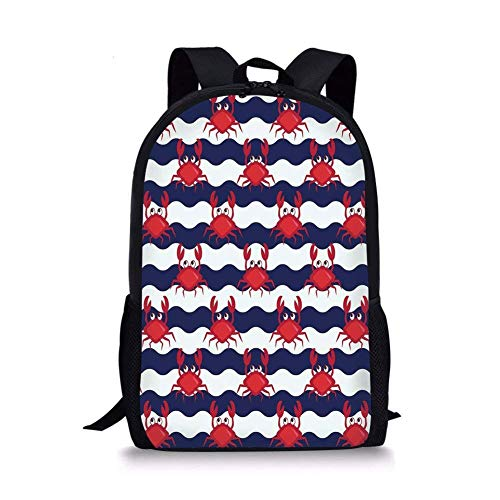 School Bags Crabs Decor,Nautical Theme Cute Crabs on the Striped Background Illustration Print,Red and Navy Blue for Boys&Girls Mens Sport Daypack