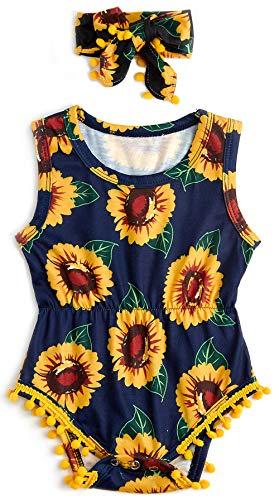 0-3 Months Infant Girls Clothing Set Summer Sleeveless Yellow Sun Flower Print Romper Jumpsuit + Headband Outfits ()
