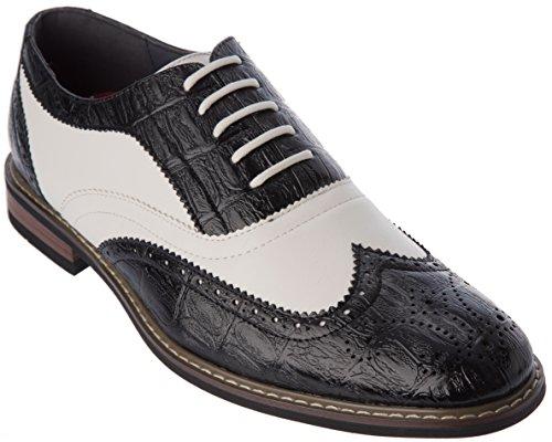 Parrazo-conrad03roodwitte Herenmode-oxford-dresserschoenschoenen In Zwart-wit
