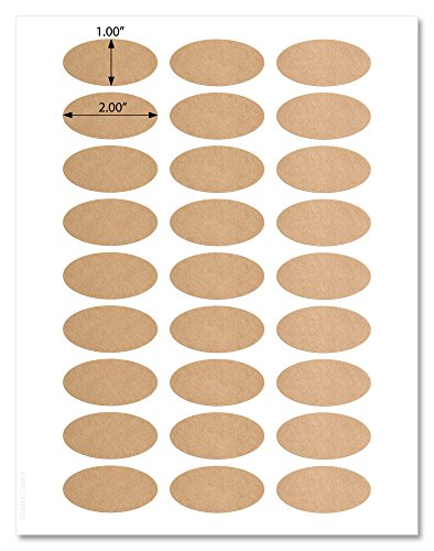 (Textured Brown Kraft 2 x 1 inch Oval Labels with Downloadable Template and Printing Instructions, 5 Sheets, 135 Labels (OB21))