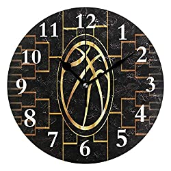 SHNUFHBD Duffel Bag Basketball Tournament Bracket Non Ticking Silent Rhombus Wall Clock Decorative, Battery Operated Analog Quiet Round Wall Clock, for Living Room, Kitchen, Bedroom