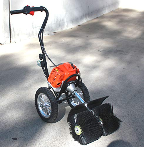9TRADING Walk Behind 52CC Gas Power Broom Sweeper Cleaner Driveway Artificial Grass ()