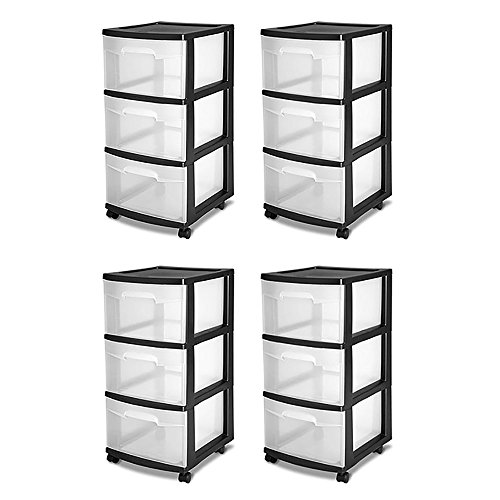 STERILITE 3-Drawer Storage Cart, Clear with Black Frame (4-Pack) | 4 x ()
