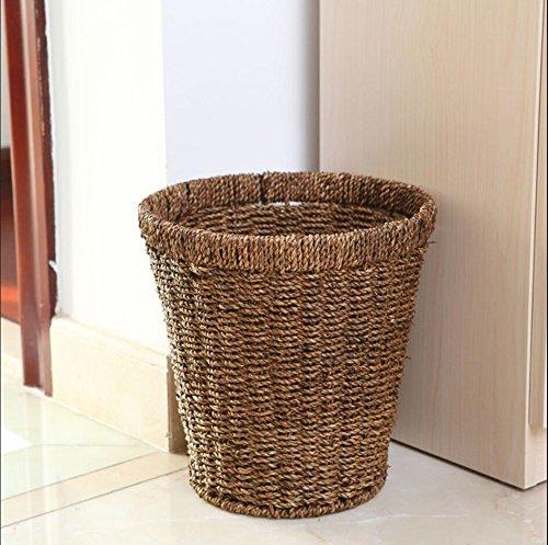 Storage basket Laundry Hamper trash can Home bedroom straw collection basket basket wash basket , brown , S
