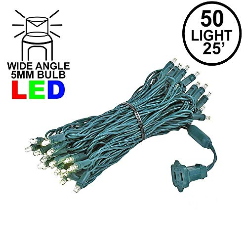Novelty Lights 50 Light LED Christmas Mini Light Set, Outdoor Lighting Party Patio String Lights, Warm White, Green Wire, 25 Feet