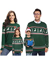 Family Matching Ugly Christmas Reindeer Snowflakes Sweater Pullover (Dad,Mom,Kids)