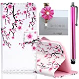 Image of Samsung Galaxy S6 Edge Embossing Pattern Case, Bonice Magnetic Snap PU Leather Wallet Case [Free Metal Stylus Pen + Diamond Antidust Plug] Hybrid Silicone Rubber Gel Anti Scratch Shockproof Protective Bumper-Plum Blossom