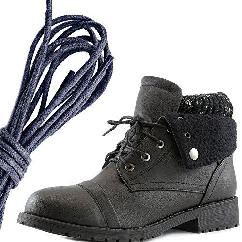 Dailyshoes Womens Boot Style Lace Up Maglione Stivaletto Alla Caviglia Con Taschino Per Porta Carte Di Credito Tasca Porta Monete, Blu Navy Pu