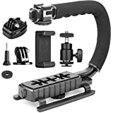 ChromLives Camera Stabilizer Handle Grip 4-in-1 Camcorder Action Camera Smartphone DSLR Handle Stabilizer Low Position Shooting System C Shape Compatible with Nikon Canon Sony GoPro SJCAM iPhone