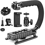 Camera Stabilizer Handle Grip 4-in-1 Camcorder Action Camera Smartphone DSLR Camera Handle Stabilizer Low Position Shooting System C Shape for Nikon Canon Sony GoPro SJCAM Smartphone iPhone