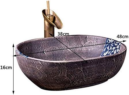 カウンター盆地洗面オーバルセラミック盆地アメリカの洗面アートヨーロッパの盆地上記 P3/18 (Size : A)