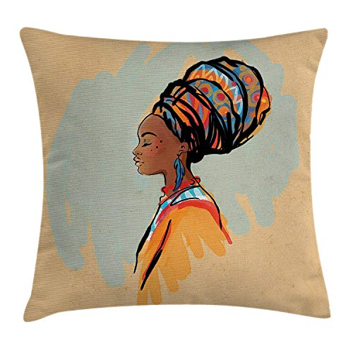 JUND African Woman Throw Pillow Cushion Cover, Watercolor Profile Portrait of Native Woman with Ethnic Hairdo and Earrings, Decorative Square Accent Pillow Case, 18 X 18 Inches, Multicolor -