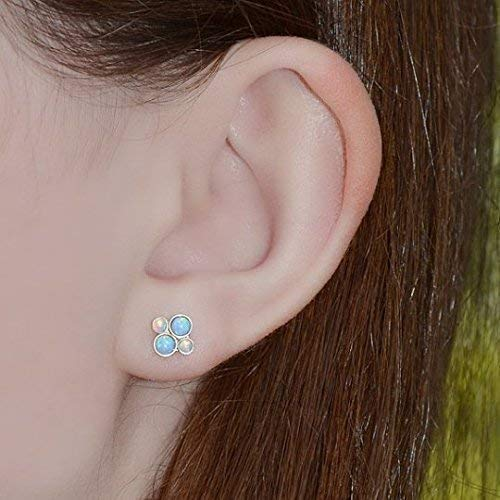 d61aee59cd4aa Amazon.com: Gold Blue Opal Stud Earrings - 2mm and 3mm Blue Opal ...
