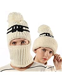FLY HAWK Women Girls Kids Knit Beanie Mask Balaclava Hat Winter Outdoor Ski Cycling Cap