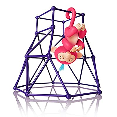 Fingerlings - Jungle Gym Playset + Interactive Baby Monkey Aimee (Coral Pink with Blue Hair) from WowWee Import