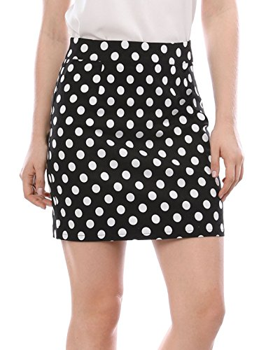 Allegra K Women's Hidden Zipper Back Above Knee Polka Dot Skirt L Black (Polka Dot Mini Skirt)