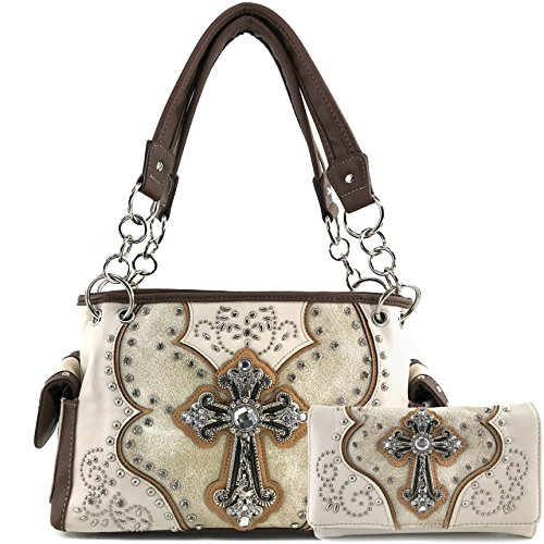 (Justin West Floral Studs Laser Cut Western Rhinestone Cross Handbag Purse Conceal Carry (Beige Handbag Wallet Set))